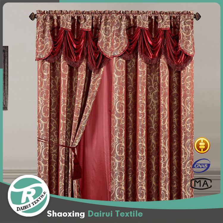 Top quality red jacquard curtain for living room