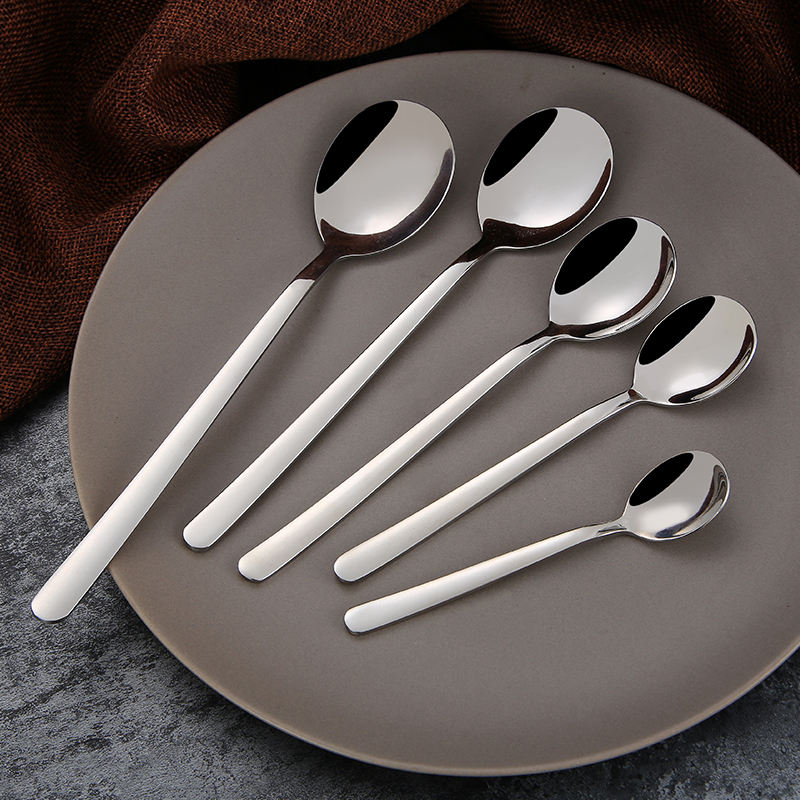3pcs Stainless Steel Long Handle Dessert Tea Coffee Spoons Metal Flatware Xmas