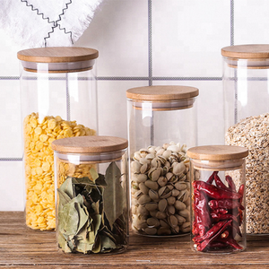 tube shaped custom size air tight high borosilicate glass food storage jar spice jar with bamboo lid