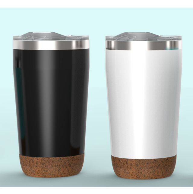 New 16 oz double wall stainless steel thermo mug with cork bottom