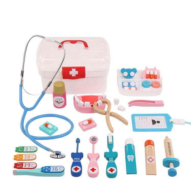 wholesale Nurse Injection Tool Wooden Simulation Medicine pretend doctor toy doctor kit for kids