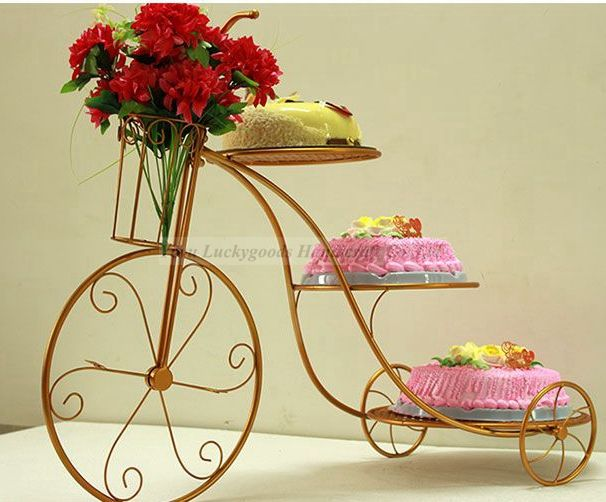 LCK157 Mini Carriage metal Tier Wedding 3 Heart Shape Gold Cake Stand With Dome