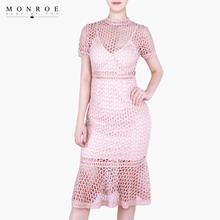 Custom Women Knit Dress Sexy Lining High Neck Hollow Out Short Sleeve Midi Cocktail Dresses For Party