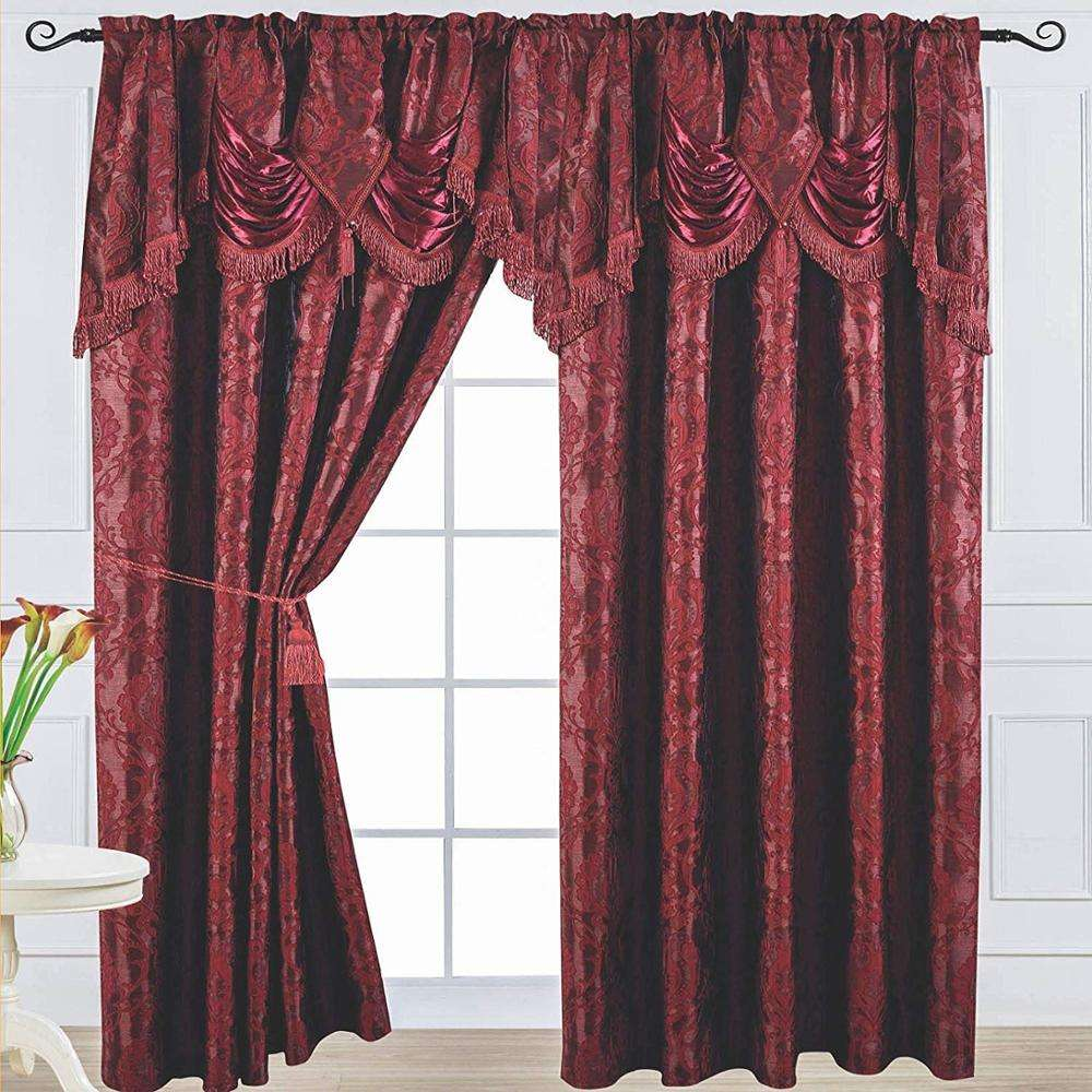 Ready Made 84Inch Length Burgundy Jacquard Curtain and Waterfall Valance