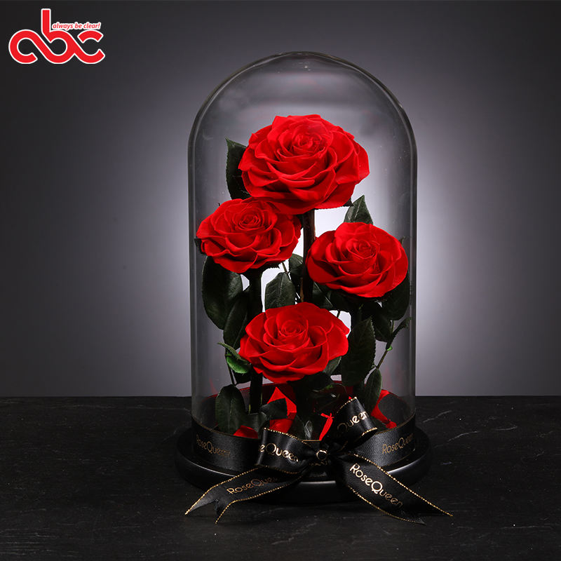 4pcs Forever Preserved Roses In Glass Dome Happy Anniversary Rose Glass Dome Gifts