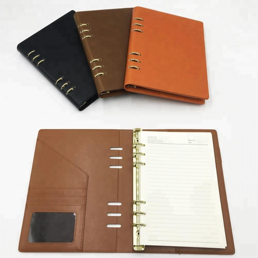 Gift Stationery Loose Leaf Journal PU Leather Notebook Diary 2019