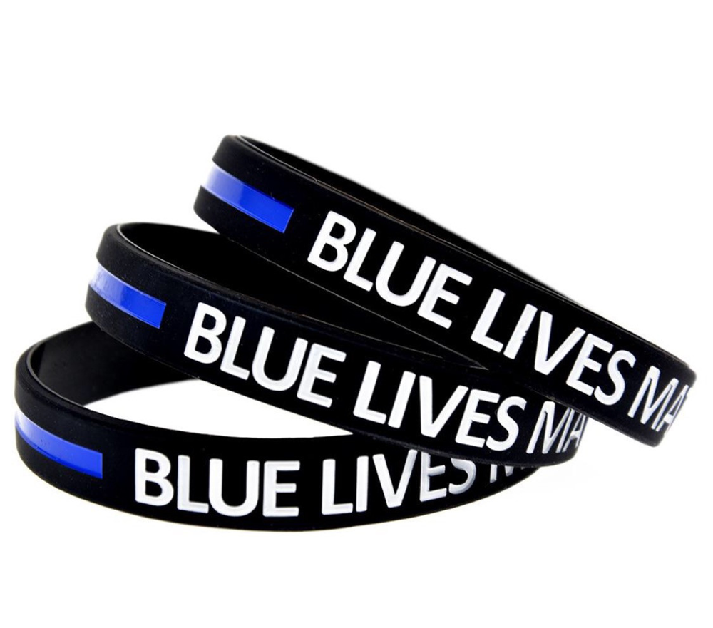 Blue lives matter silicone wristbands