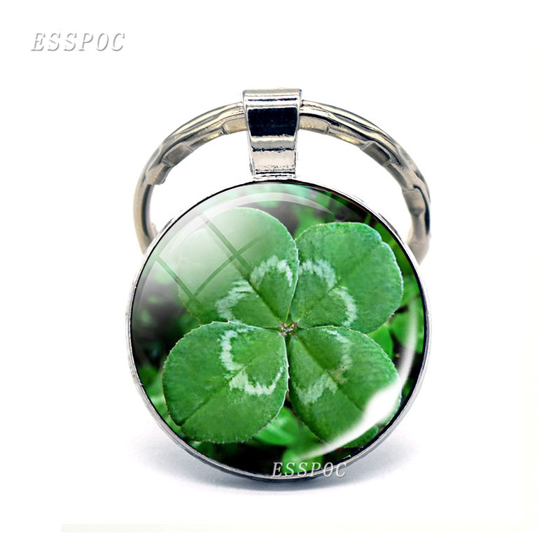 Lucky Clover Keychain Four-leaf Glass Cabochon Key Chain Ring Metal Keyring Lucky Jewelry Lucky Gift for Friends