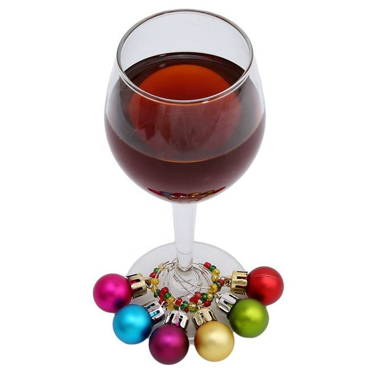 Promotional Custom Logo Christmas Bell for Bar Party Wine Charms Set glass marker
