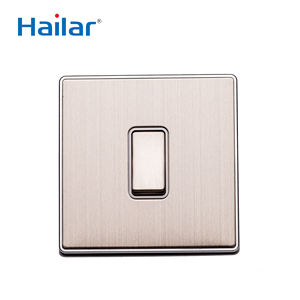 Hailar brushed chrome UK standard 1 gang 1 way wall switch home electrical light switch