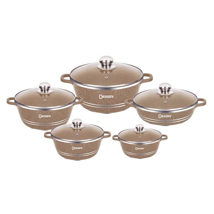 10pcs dessini round kitchen pot cookware set