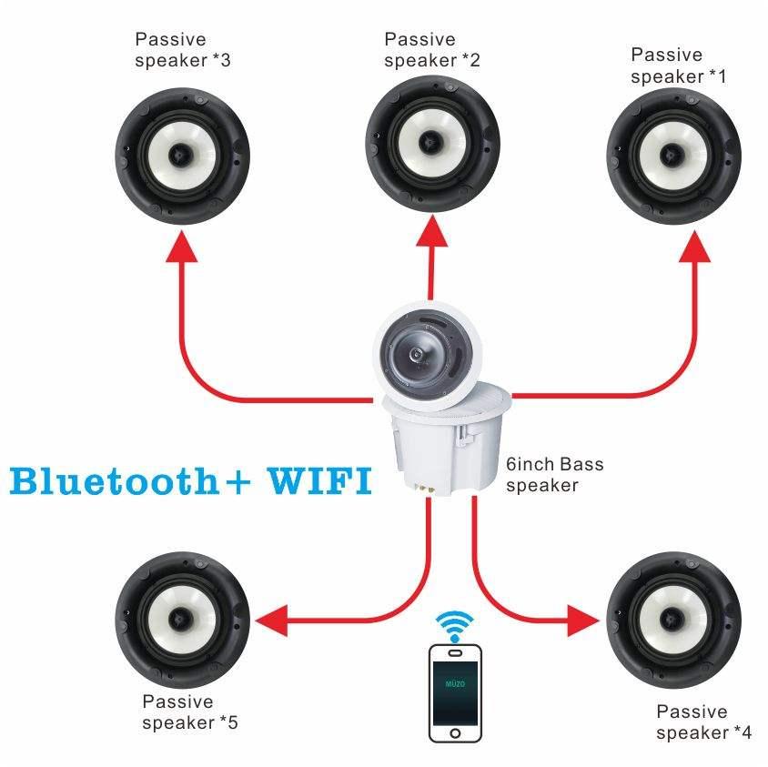 WiFi speaker (desktop wall-mounted ceiling MINI, HIFI WIFI speaker) Home Theater 2.1 and 5.1 Wireless BLU WIFI Speaker