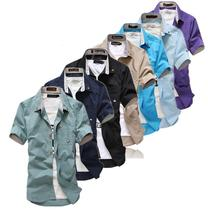 Italian Cotton Sports Shirt Fabric Two-piece Men's Casual Shirts With More Color SIZE M-XXL