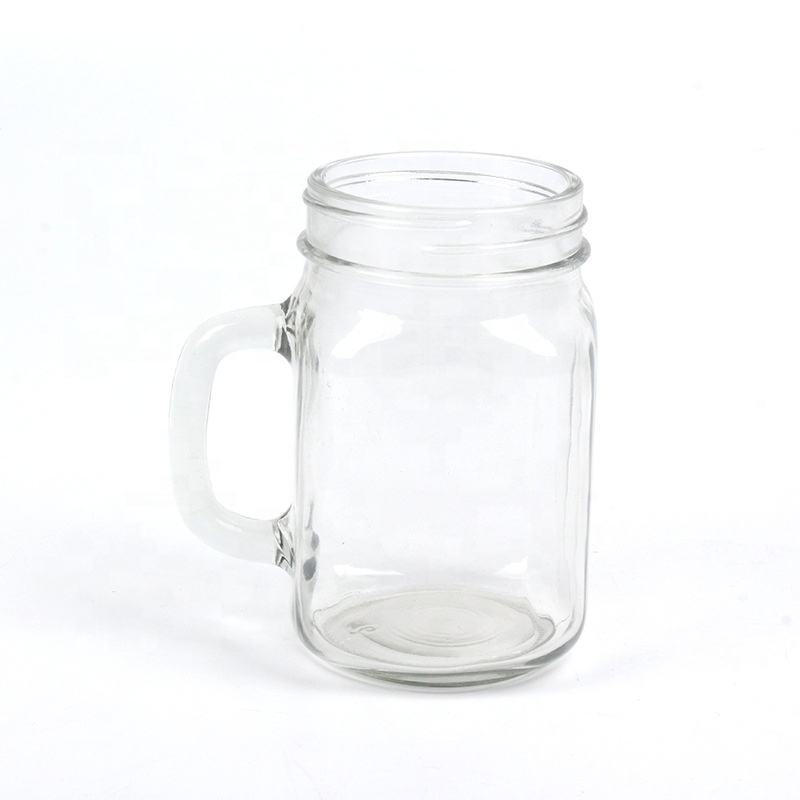 wholesale clear 300ml 450ml 500ml 600ml glass mason jar drink glass candle glass with handle
