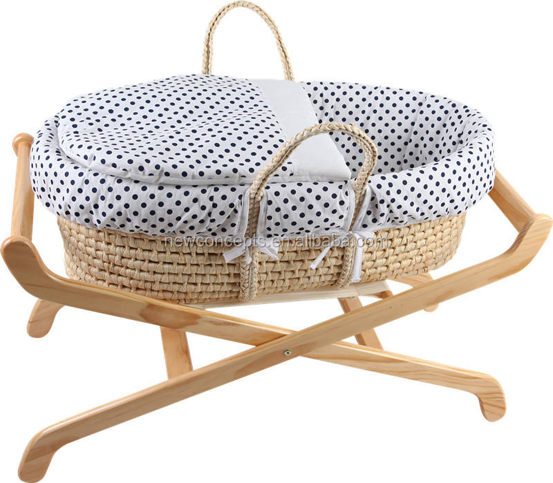 Wholesale handmade straw woven baby moses basket with stand
