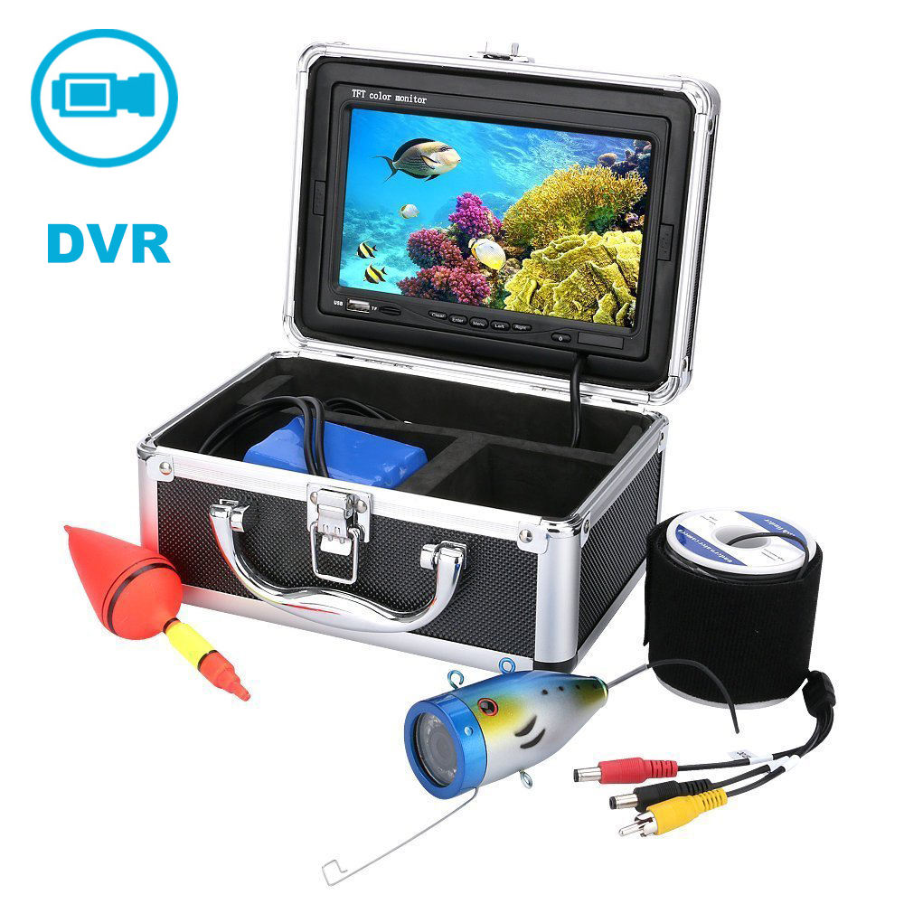 "1000TVL HD Waterproof Professional 15M Fish Finder Underwater Ice Fishing Camera 7"" Color HD Monitor With DVR Function"