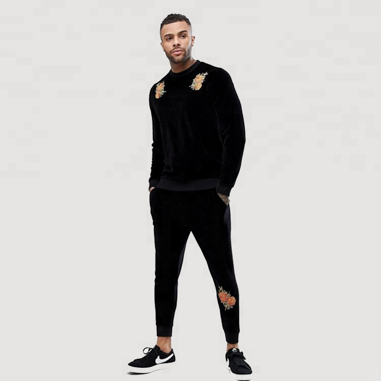 Bulk Wholesale Clothing Custom Velour Embroidered Track Suit