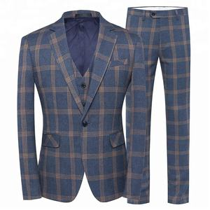 Slim fit slant pockets side vents 3 piece one button dinner suit plaid suits