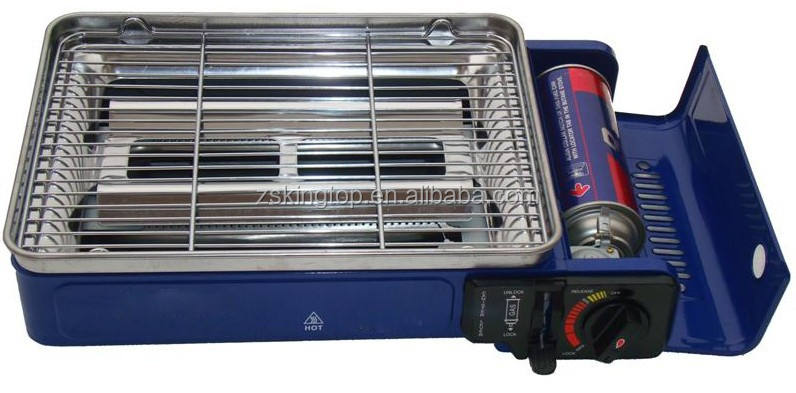 double burner portable gas stove with new BBQ grill plate