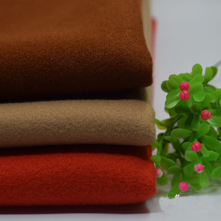 Wholesale solid color single brushed 100% polyester artificial cashmere silk blend fabric