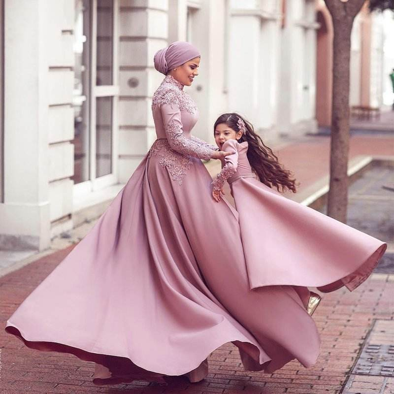New Muslim Long Jumpsuits Evening Dresses High Neck Long Sleeve Prom Gown Abric Dubai Formal Party Wear