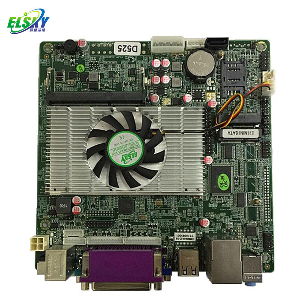 DDR3 RAM ATOM D525 Mini-ITX Motherboard Supporting DC 12V or ATX Power Supply