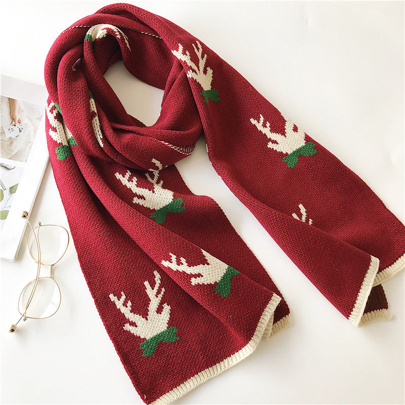 Wholesale korea winter christmas gift neckerchief knitting wool christmas elk thick long warm women scarf