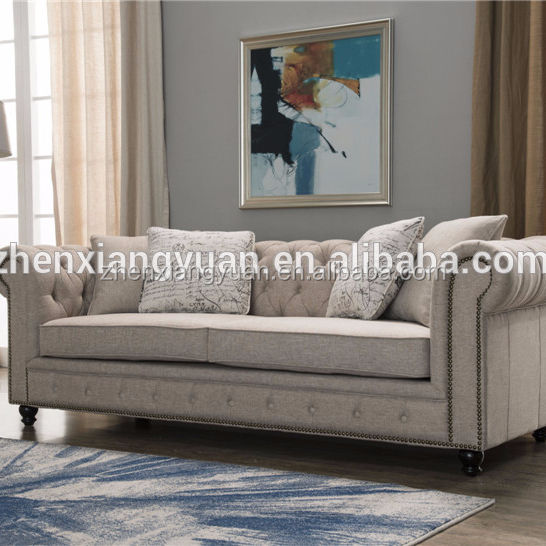 new designs Wholesale middle east italian style 3 seater Button tufting fabric sofa