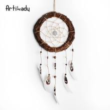 Artilady twilight of the city dry branches net creative feather dream catcher home decoration