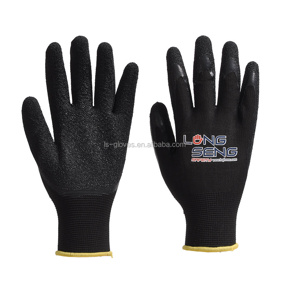 manufacturer 13g nylon liner rubber latex wrinkle black coated half(3/4) dipped oil resistant working glove