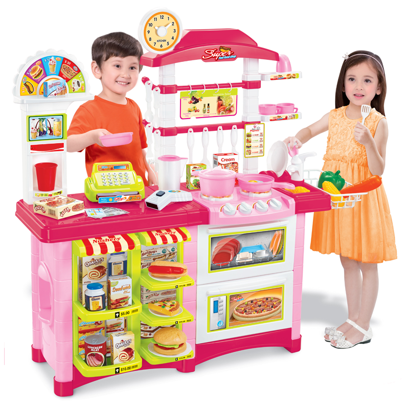 Wholesale pretend play toy kitchen simulation series kitchen play set cash register toy for kids