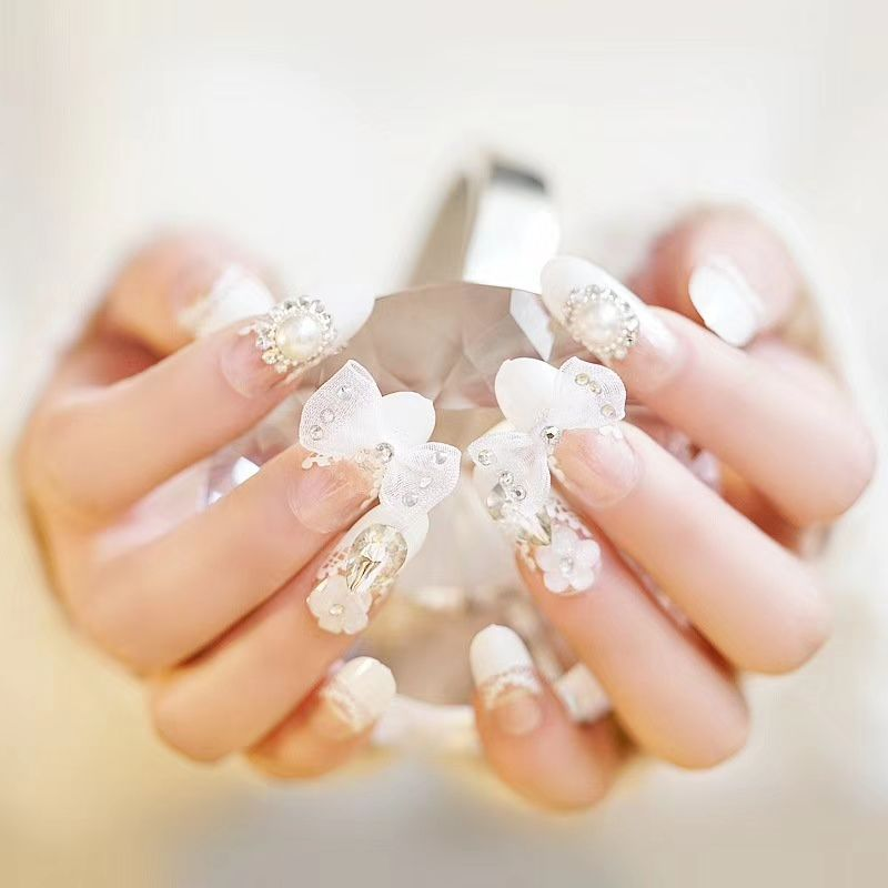 Bella Strass Gioielli Da Sposa Artificiale Falso Dito Corea Nails Tips