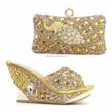 Wholesale women shoes match bag GOLD rhinestones/ high quality slipper with bag SB802-1