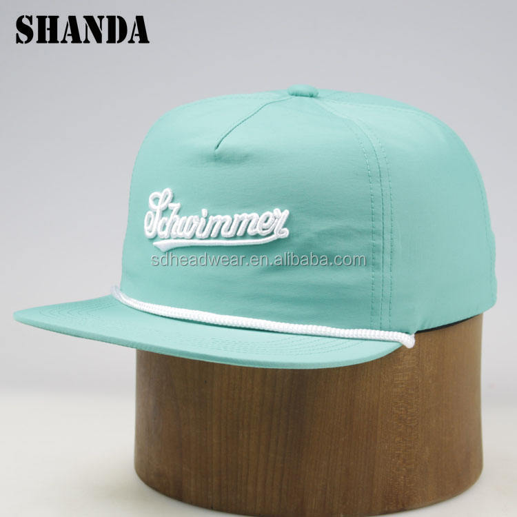 New style custom embroidery green nylon rope bill unstructured 5 panel cap manufacturer