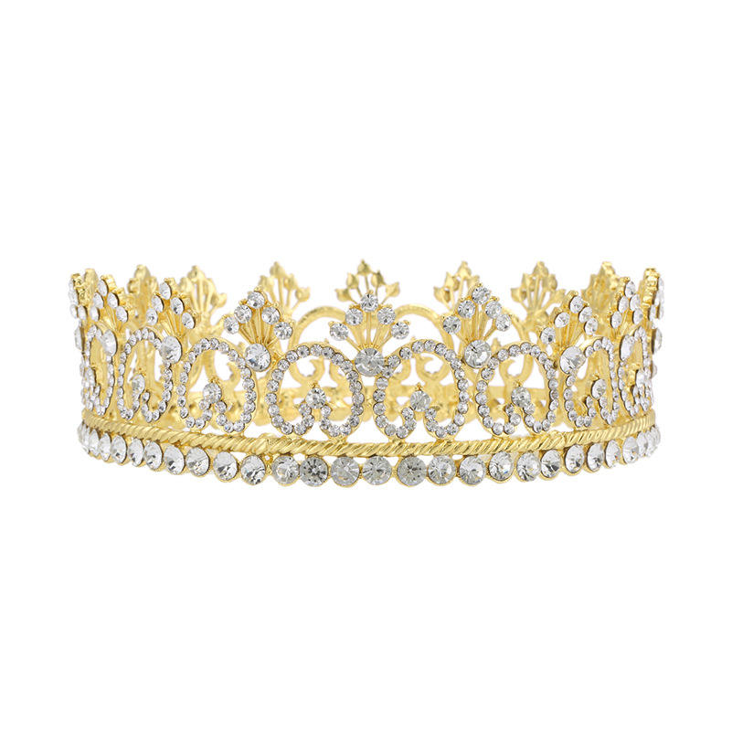 "Men's Tiara 4.25"" Imperial Medieval Crystal Crown Gold Art Deco Pageant Costumes"