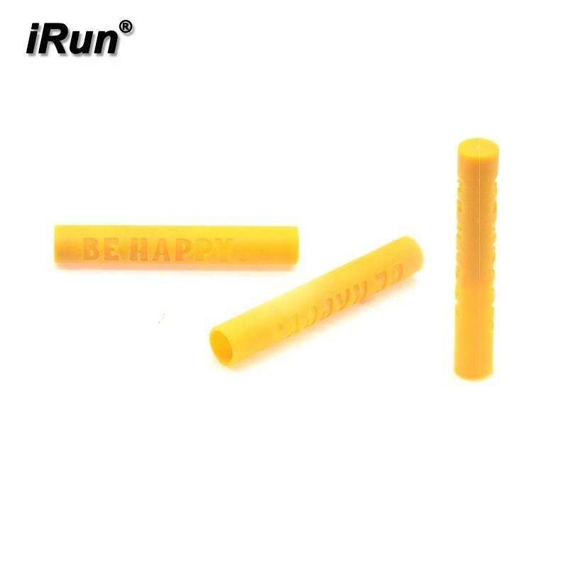 iRun 46mm Yellow Plastic Shoelace Ends With Engraving Logo Aglets For Cloth Hoodie