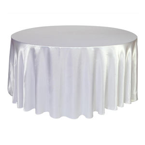 polyester white silver party home hotel banquet wedding 120 inch satin round table cloth