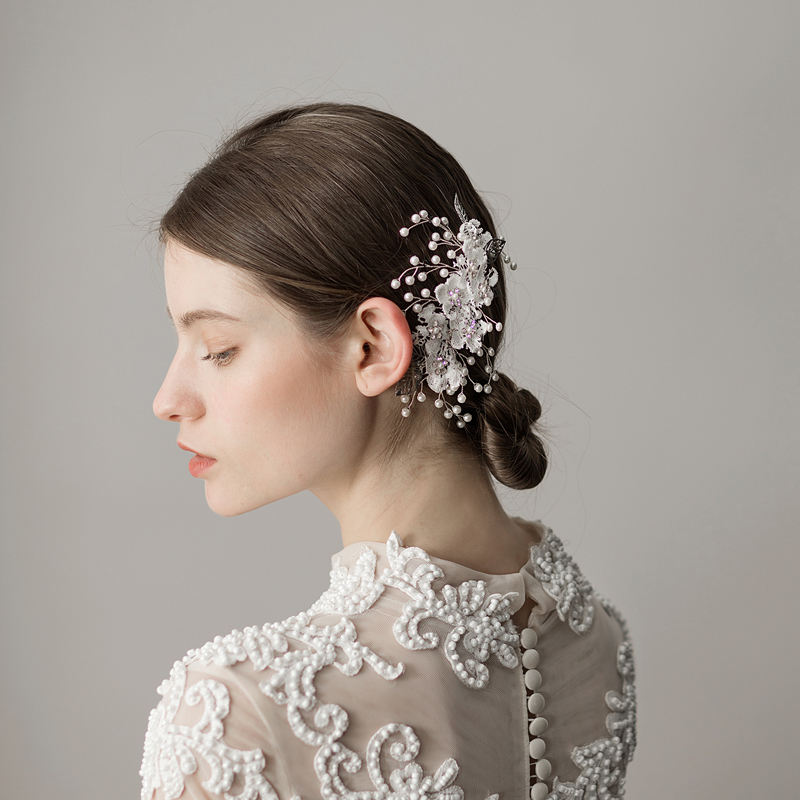 O381 Lace flowers wed bridal rhinestone handmade hair comb bridal crystal floral hair comb with pearl for wedding