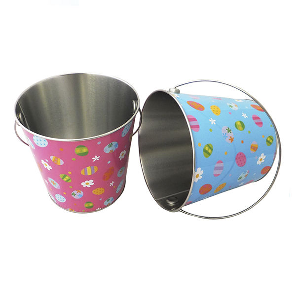 Christmas decorative small round metal buckets with full color painting design