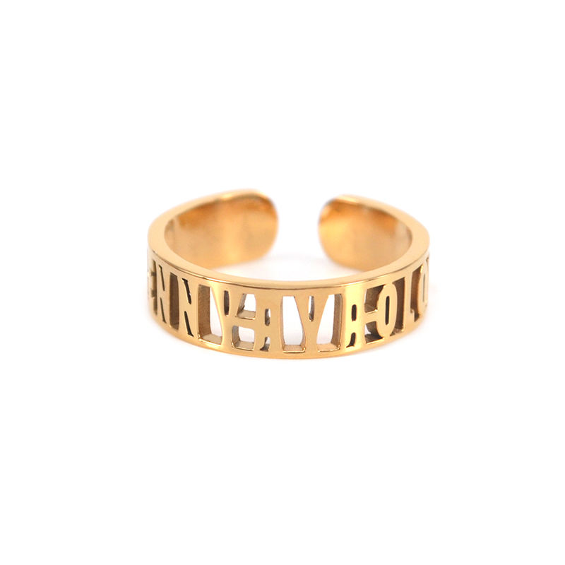 Dropshipping Edelstahl 18 K Gold Personifizierte Name Ring