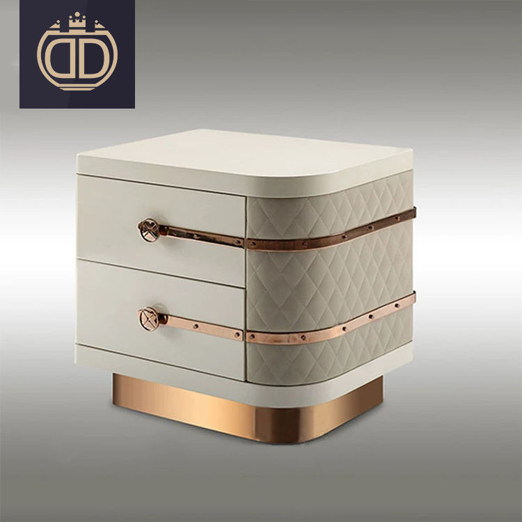 Entry luxury leather white french bedside table night stand bedroom furniture modern bedroom set side table for bedroom
