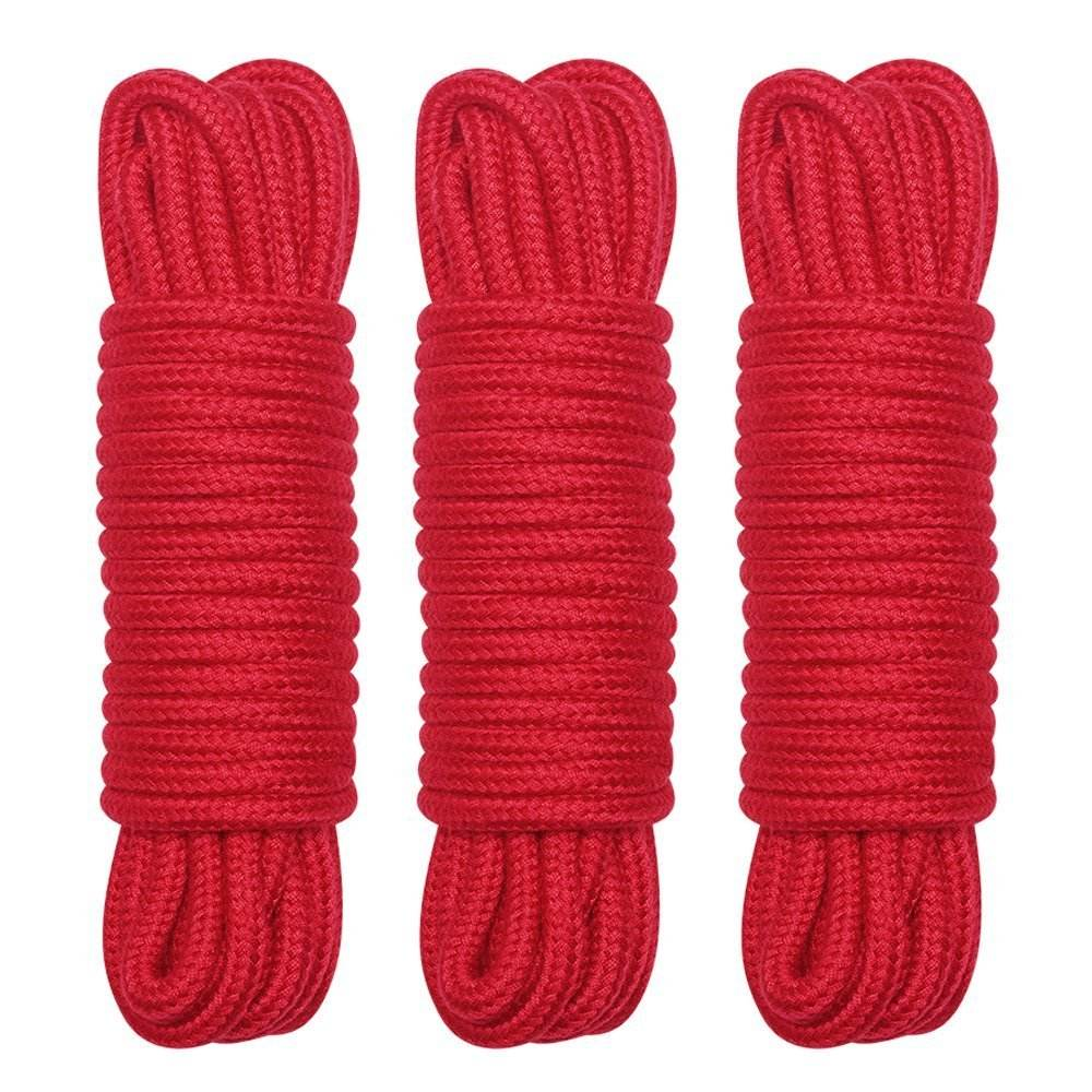 8mm Sturdy and durable All Purpose Soft colored round red Cotton Rope