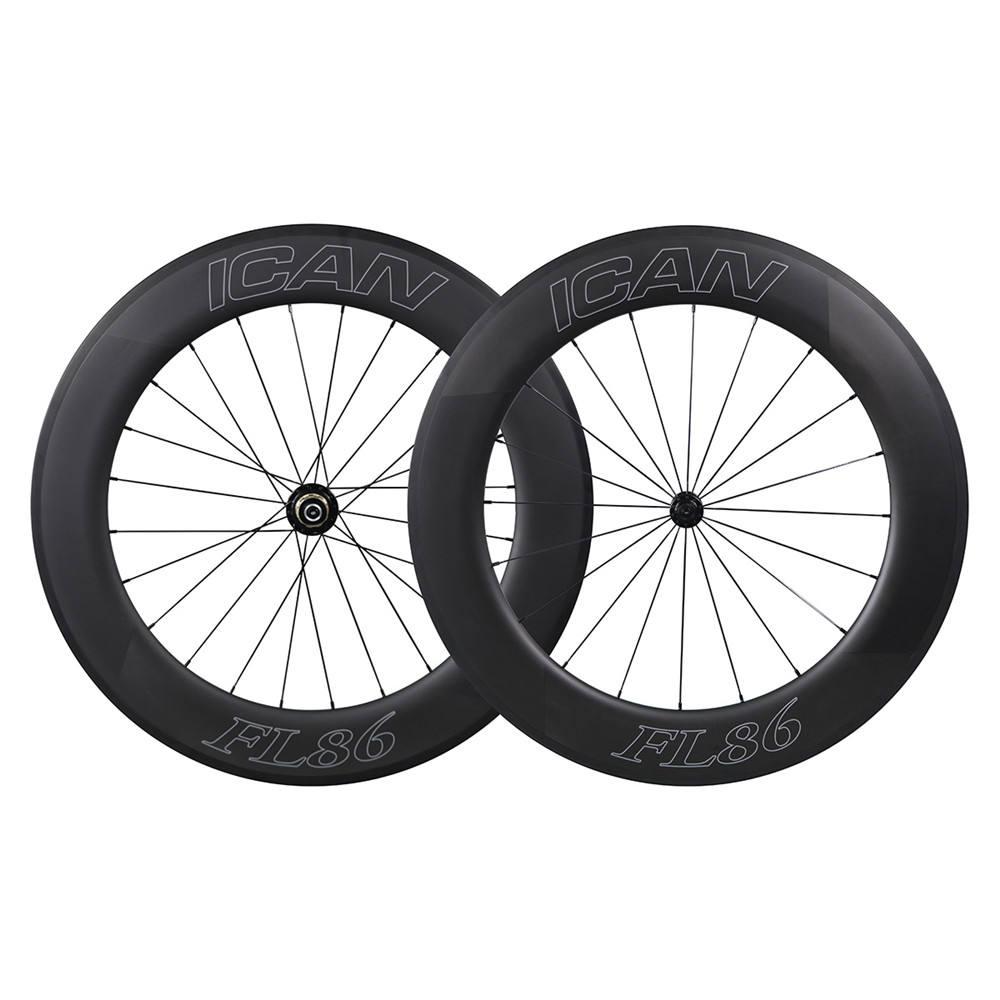 86mm 700C Carbon wheels Road bike carbon wheels light black bicycle wheels clincher/tubular carbon wheelset