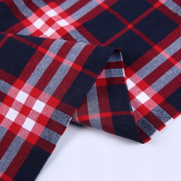Brushed textiles dobby design red plaid surplus shirting shirt fabric woven