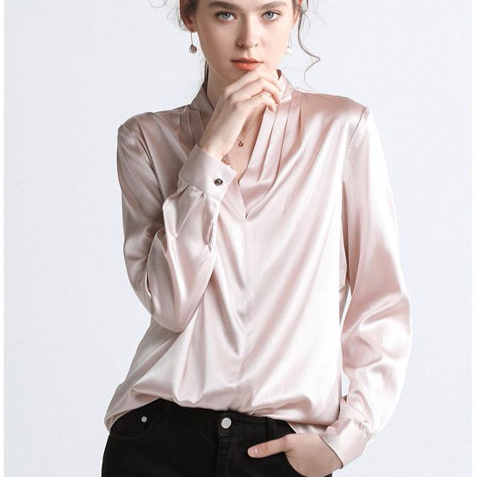 Satin Silk Cool and Elegant Office V neck Lady Shirt Women Office Blouse