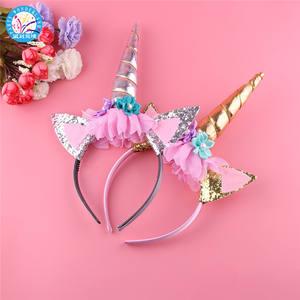 New product ideas 2019 unicorn horn hairband kids unicorn headband glitter hair accessories