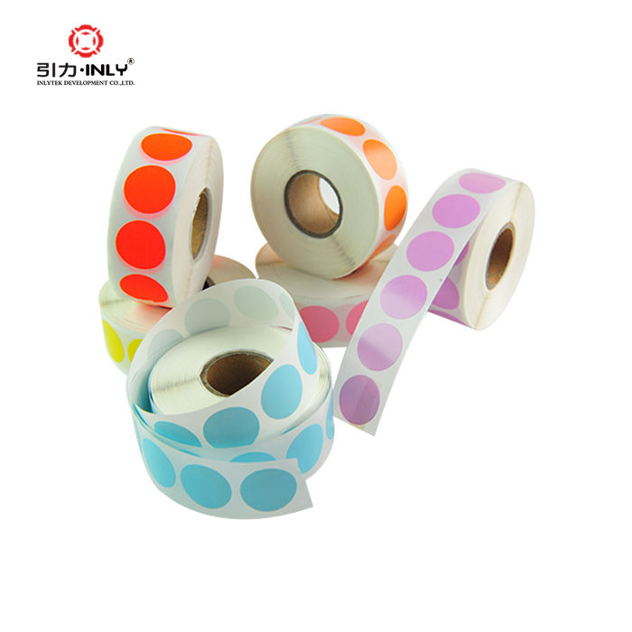 Packaging self adhesive label sticker colorful coding round dot labels