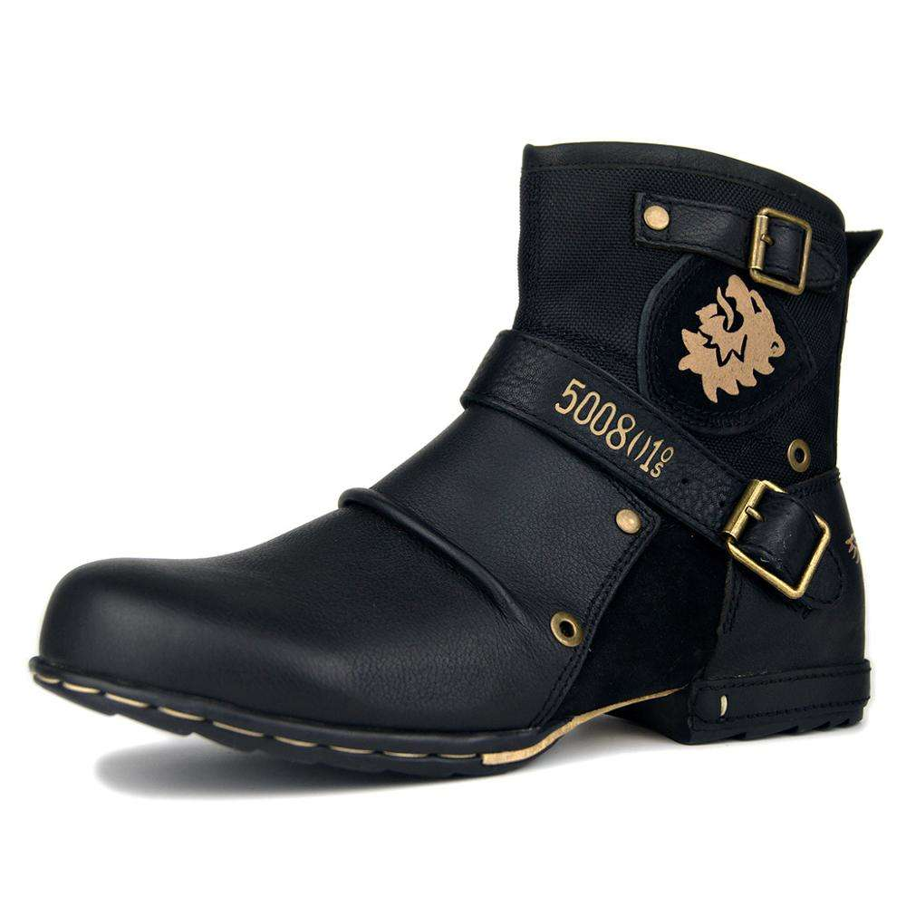 Trendy Ankle High Motorcycle Boots Moto Boots for Men Fashion Zipper-up Leather Chukka Boots