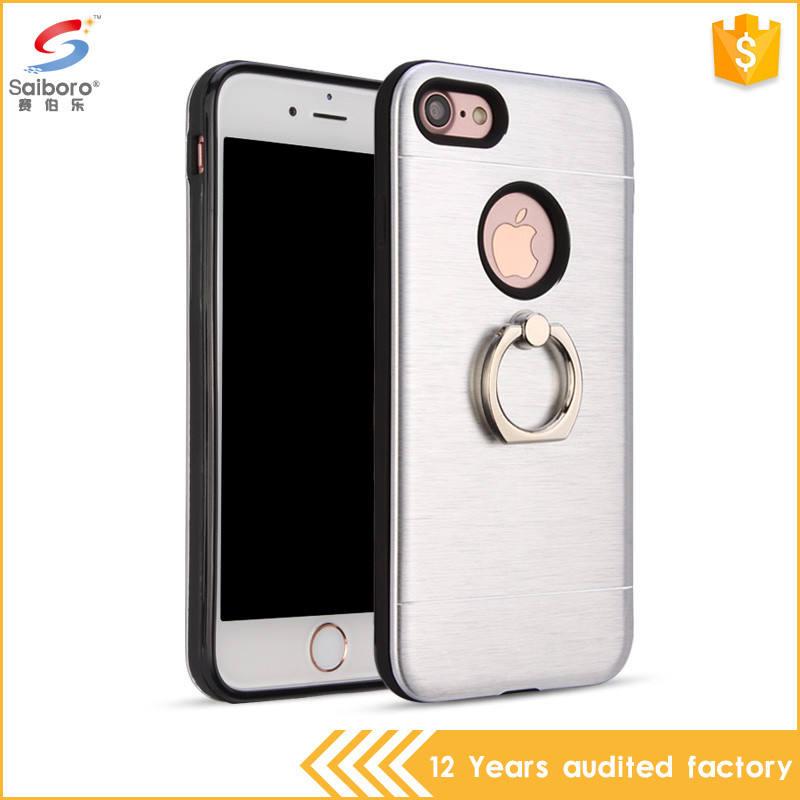 Compra a granel de China anillo holder tpu cepillado caja del teléfono del metal para iphone7 plus