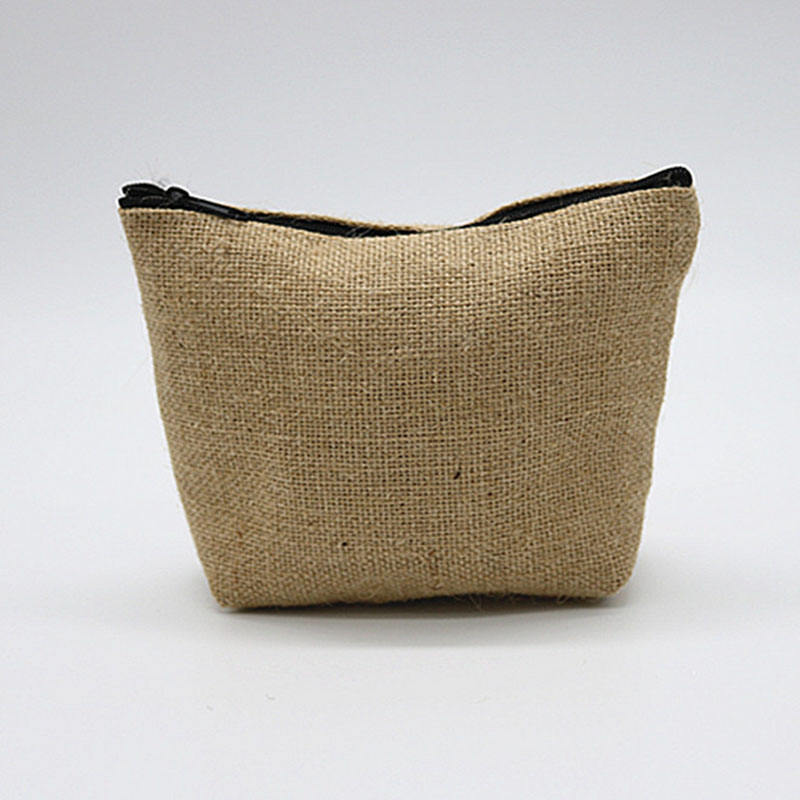 Promotional Custom Logo Printed Natural Jute Burlap Hemp Lipstick Eyelash Pouch Cosmetic MakeUp Zipper Bag